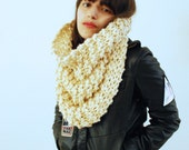 Infinity Scarf or Hood Hand Knit in Creme - MADE TO ORDER