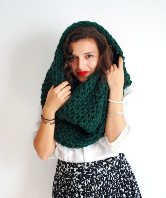 Green hand knit large cowl scarf in emerald