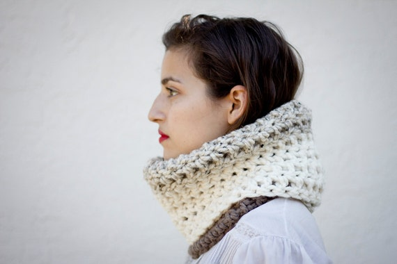 The Mod Cowl Hand Knit in Taupe, Oatmeal, and Fisherman Wool Blend - MADE TO ORDER