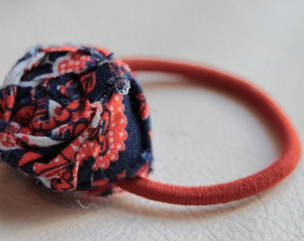 Navy and Orange Rosette Ponytail Holder. Vintage Fabric Ponytail Holder. Hair Accessory. Hair Tie
