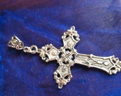 Silver  Cross Pendant Ornate Flat Back