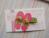 Pink & Apple Green Summer Flip Flops Grosgrain Sculpted Hair Clip