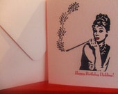 "AUDREY HEPBURN Happy Birthday ""Dahling"" Card Pink Linen"