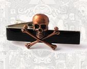 Tie Clip Steampunk Skull and Crossbones Vintage Style Bronze Gothic Skull Tieclip Neck Tie Bar Accent