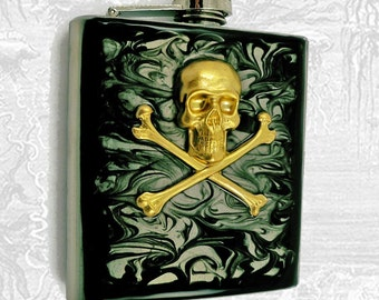 Steampunk Flask Brass Skull and Cross Bones Inlaid in Hand Painted Enamel Ink Swirl Design Neo Victorian Custom Colors and Personalized