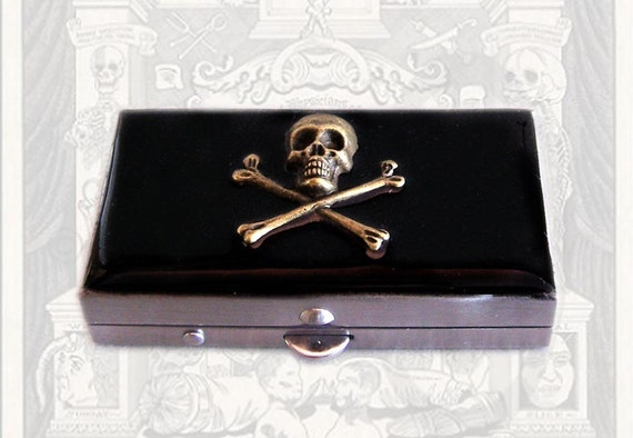 Gothic Skull and Cross Bones Metal Pill Box Inlaid in Hand Painted Enamel Steampunk Inspired Personalized and Custom Color Options