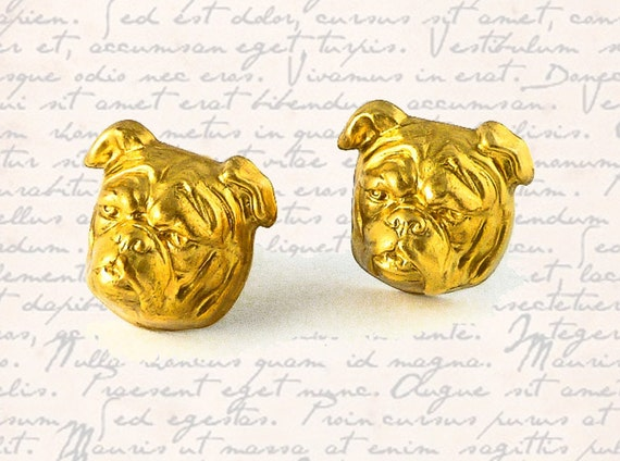 Cufflinks Neo Victorian English Bulldog Head Cuff Links Vintage Inspired Brass and Gold Plated Backs