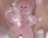 Sweet Sugared Gingerbreadman Girl Sparkly Chic Shabby Plaque Christmas Sign