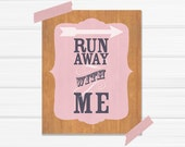 Run Away with Me 8x10 Fine Art Print in Light Pink and Navy
