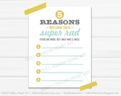 8.5x11 Reasons Why I Love You List in Mustard, Mint and Gray