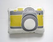 Mini Camera Plush in Mustard Yellow and Gray by Yellow Heart Art