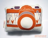 Camera Plush / Pillow in Orange with arrows by Yellow Heart Art