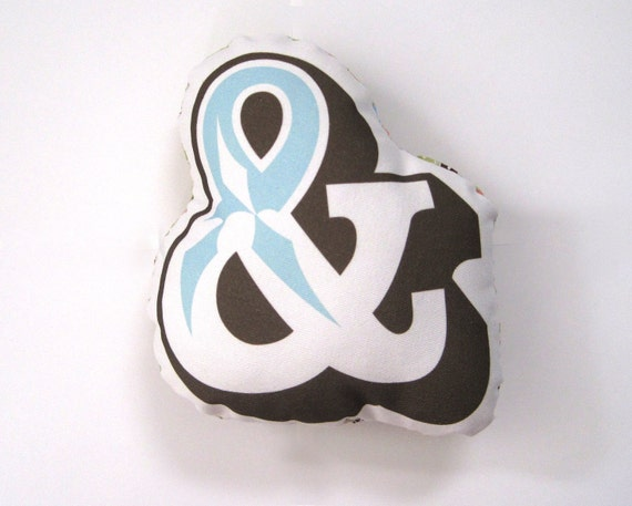 RESERVERD SALE - Ampersand Pillow in Chocolate Brown and Blue