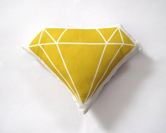 Diamond Plush / Pillow in Mustard Yellow by Yellow Heart Art