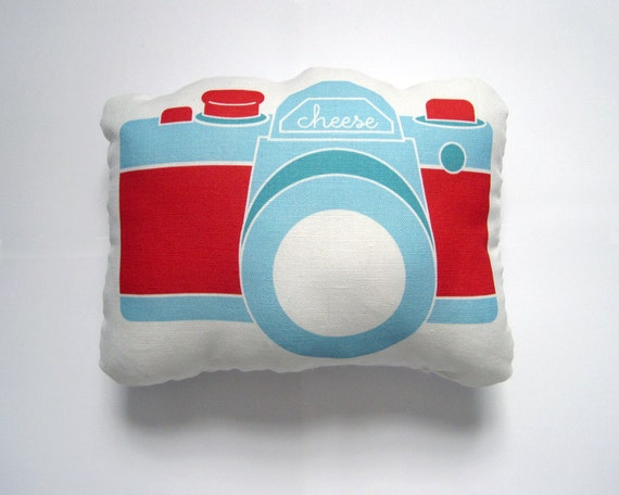 Camera Plush / Pillow in Blue and Red by Yellow Heart Art