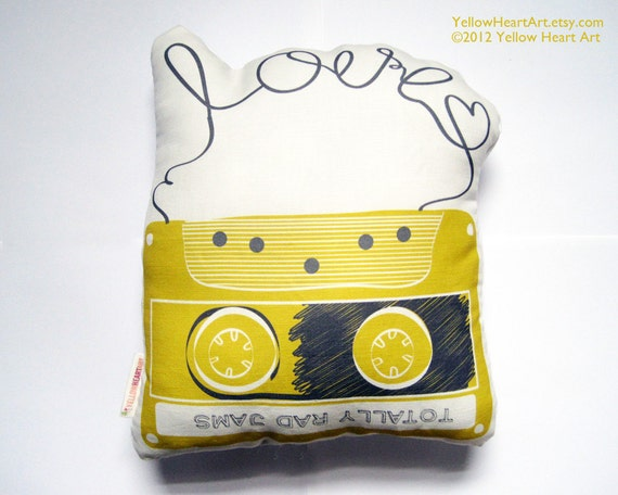 Mix Tape Plush / Pillow in Mustad and Gray by Yellow Heart Art