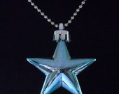 Steel Blue Metallic Shining Star Necklace (Funky Felt Flowers)