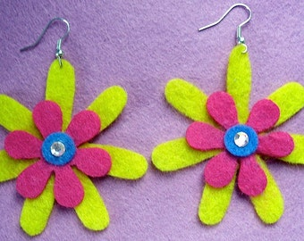 Disco Funky Felt Flowers Earrings