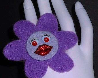 Purple Angelina (Funky Felt Flowers Cocktail Ring)