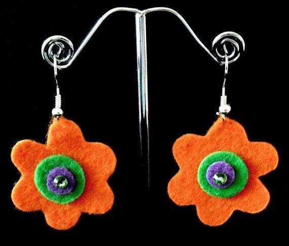 Mini Orange Funky Felt Flowers Earrings