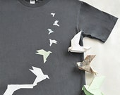 War Cycles, Peace Cycles, Dove Origami Tshirt, Men/Unisex in Grey, Organic Cotton Tee