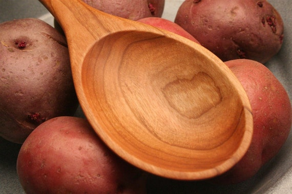 Handmade wooden stirring and tasting spoon of Cherry wood