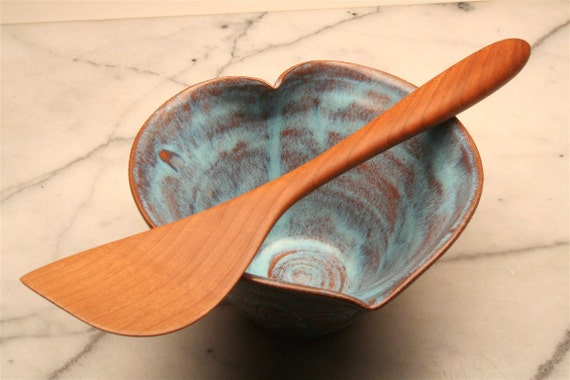 Right handed  wooden stirring and mixing spatula of Black Cherry wood