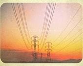 "Sunset Photo. Vintage Travel Photo. ""Retro Roadtrip"" 5x7 inch photo. sunset. powerlines. orange. pink. yellow. roadtrip. old photo. warm"