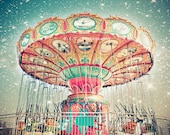 "Carnival Photo. Swings. ""Swings and Shooting Stars"" 8.5x11inch Photo. Stars. Swings. Colorful. Blue. Pink. Coral. Night sky. Dreamy. Surreal"