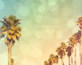 """Palm Trees. """"Palms in Paradise"""" 8.5x11 inch Photo. Dreamy. Girly. Bokeh. Pink. green. blue. yellow. pastels. California. Vintage. colorful"""