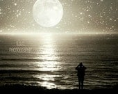 """Nigh Photo. """"Under the Full Moon"""" 8.5x11inch Photo. Moon. stars. ocean. night sky. silhouette. person. dreamy. surreal. black. gray. silver."""