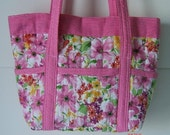 Pink Floral Quilted  Beaded Betsey Bag Purse
