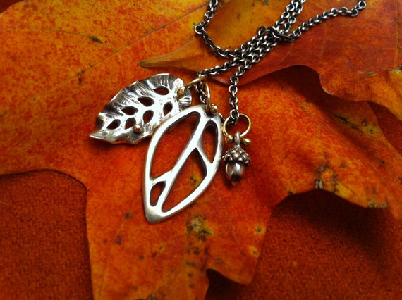 Special listing for ANIKO  fall leaves & acorn pendants  sterling and 18k