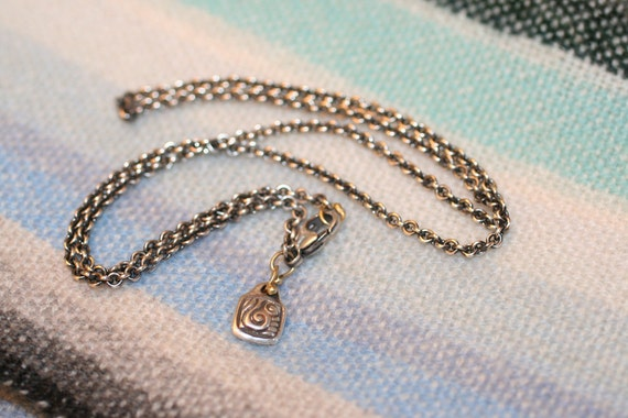 DANA  water name tag fine chain sterling and 18k