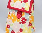 Eco-friendly Lunch Bag - Flower Print with Red Trim