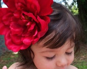 Large Red Peony Flower Hair Clip perfect for a Photo Shoot