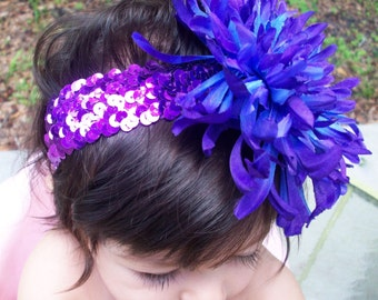 Glitzy Bloom Headband - Purple