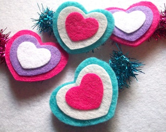 Hair Clip : Triple layered Valentines Lovey Dovey Wool Felt Heart  Clippie - You Pick Color