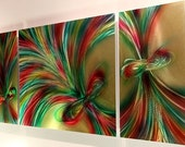 """HOLD YOUR FEELINGS 57"""" abstract wall decor wheat bunch metal art painting colotful modern original by Lubo"""