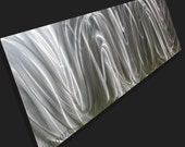 Modern metal art horizontal vertical wall sculpture Video colour light reflect background office boardroom silver decor hand made by Lubo