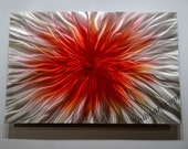 abstract red metal art sculpture painting shiny modern horizontal vertical wall decor brilliant contemporary classy hand made original  Lubo