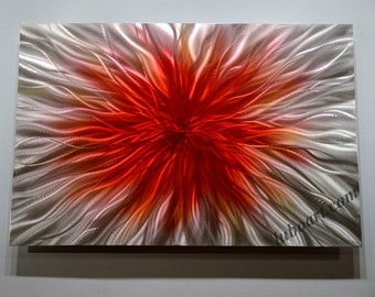 """36"""" abstract red metal art sculpture painting modern horizontal vertical wall home decor contemporary office original hand made Video - Lubo"""