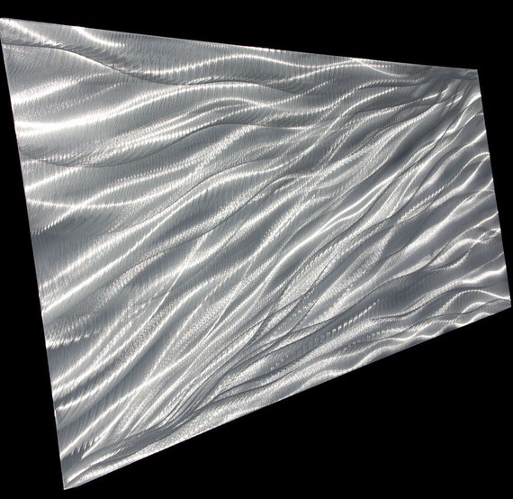 WIND FLOW 60 x 24 huge classy and modern shiny silver wall decor sculpture by LUBO art