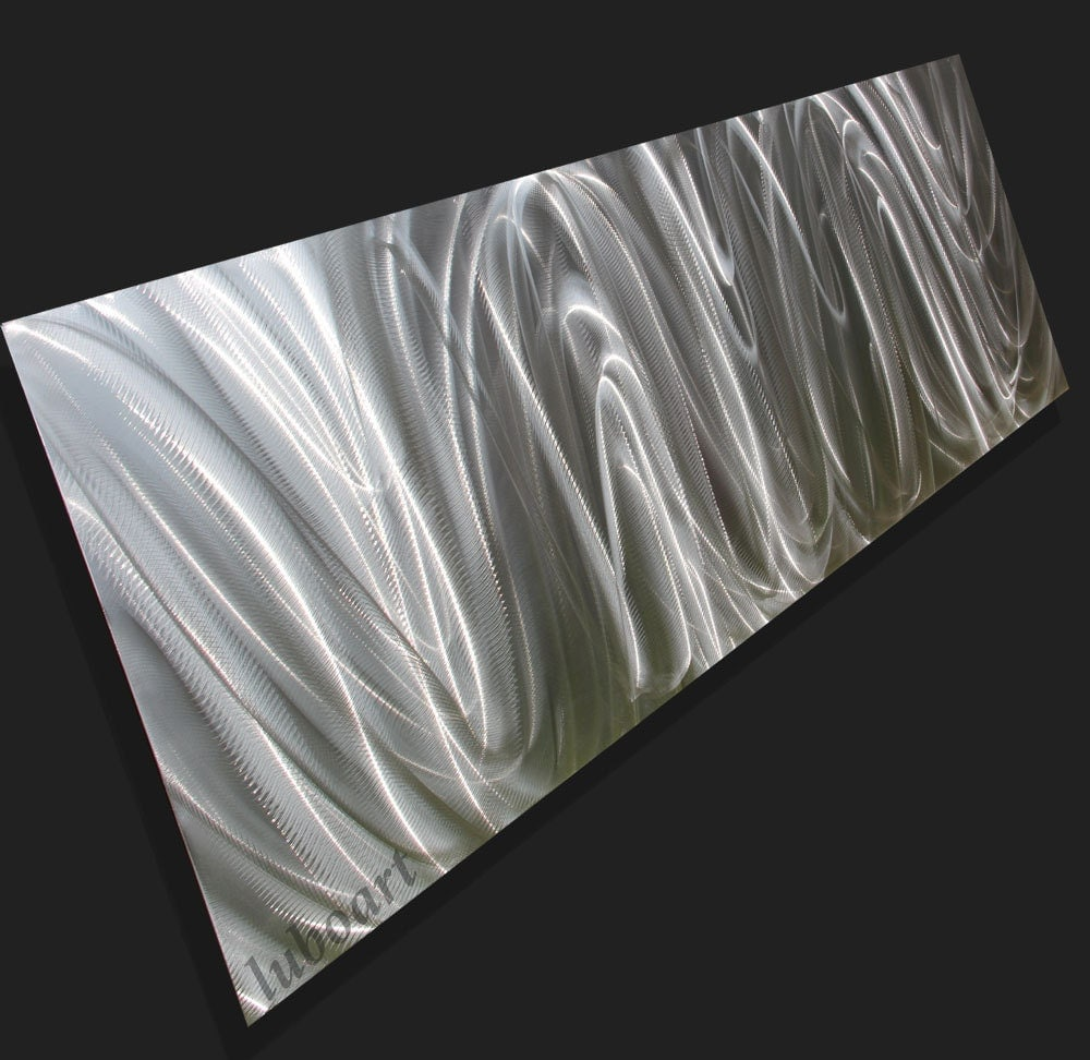 Vertical metal wall decor : Modern metal art horizontal vertical wall sculpture