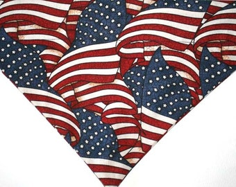 US Flag red, white and blue over the collar Dog Bandana / Scarf