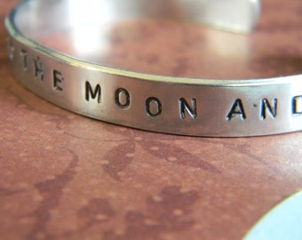 I Love You To The Moon And Back, a sweet saying wih moon and stars stamped in