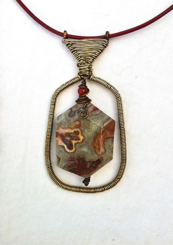 CUSTOM for gyaquinto: Agate Crazy Lace Agate Copper & Silver Wire Wrapped Necklace