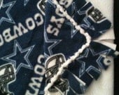 Cowboys baby blanket, original knotted edge