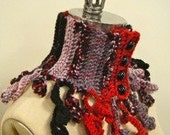 Crochet Curls collar - neckwarmer. One of a kind accessory, red-black-grey, 4 buttons -  FREE SHIPPING