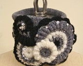 """EZorange """"Dream grey"""" freeform crochet and knitted collar, one of a kind -  FREE SHIPPING"""